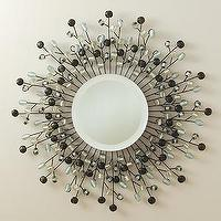Mirrors - Sunburst Beaded Beveled Mirror - Mig & Tig - sunburst, mirror, beaded, silver, smoked, aqua,