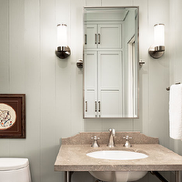 Dillon Kyle Architecture - bathrooms - gray wood panels, wood plank walls, gray wood panels, gray plank walls, vertical wood panels, vertical planks, rectangular pivot mirror, sconces flanking mirror, bathroom sconces, stone washstand, 2-leg washstand, plank board walls, green plank board walls, green plank walls,