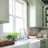 BHG - kitchens - mint green kitchen, mint green, shaker cabinets, mint shaker cabinets, mint green shaker cabinets, farmhouse sink, apron sink, gooseneck faucet, carrara marble, carrara marble countertops, woven basket, mint green cabinets, mint green kitchen cabinets, mint cabinets, mint kitchen cabinets,