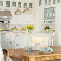 BHG - kitchens - farmhouse dining table, u shaped kitchen, stacked dishwashers, industrial stools, yoke pendants, industrial pendants, island pendants, kitchen pendants, glass-front fridge, two-tone kitchen, two-tone kitchen cabinets, two-tone cabinets, turquoise blue, turquoise blue kitchen island, beadboard panels, sink in kitchen island, marble countertops, bridge faucet, white kitchen cabinets, shaker cabinets, white shaker cabinets, kitchen hardwood floors, wood panel dishwashers, wood panel appliances, turquoise kitchen, turquoise blue kitchen, Restoration Hardware Harmon Pendant, Crate & Barrel Delta Barstool,
