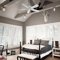 Dillon Kyle Architecture - boy&#039;s rooms - gray boy&#039;s bedroom, vaulted ceiling wood beams, gray wood beams, black poster bed, black bed, gray shams, plaid bedding, marine sconces, plantation shutters, white stag head, stag head, white nightstands, gray walls, grey walls, gray paint, grey paint, gray paint color, grey paint color, gray wall paint, grey wall paint, gray bedroom walls, grey bedroom walls, gray bedroom paint, grey bedroom paint, gray bedroom paint color, grey bedroom paint color,