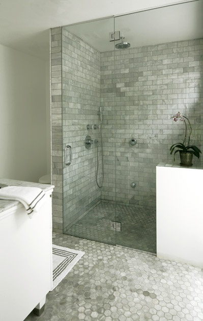 Bianco carrara marble tiles transitional bathroom Marble hex tile bathroom floor