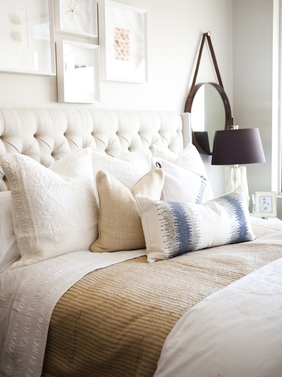 Ivory Tufted Headboard With Nailhead Trim Transitional