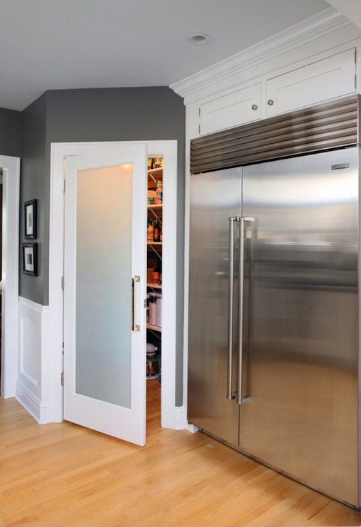 Frosted Glass Pantry Door Contemporary Kitchen Benjamin Moore Chelsea Gray Normandy