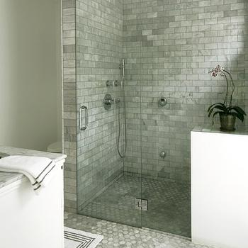 Bianco Carrara Marble Tiles, Transitional, bathroom