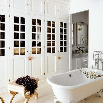 Floor to ceiling bathroom cabinets design decor photos for Bedroom with attached bathroom and dressing room