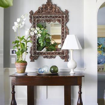 Bone In lay Mirror, Cottage, entrance/foyer, Lynn Morgan Design