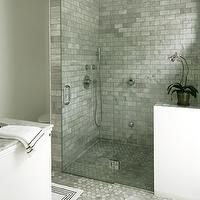 bathrooms - bianco carrara marble, bianco carrara marble hex tiles, bianco carrara marble hex floor, bianco carrara marble hex shower floor, bianco carrara marble subway tiles, bianco carrara marble shower, seamless glass shower, rain shower head, marble bathroom,