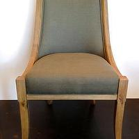 Seating - Mecox Gardens - Empire Dining Chair Detail - reclaimed, dining, chair, linen, velvet, gray, green, reclaimed, wood, nailhead,