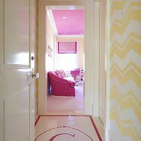 Lynn Morgan Design - girl's rooms - hallway, passageway, monogrammed floor, yellow zigzag walls, zigzag walls, hot pink, pink ceiling, chevron walls, yellow chevron walls, pink and yellow girls room, pink and yellow girls bedroom,