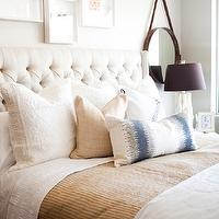 Fantastic bedroom with Cleo Bed with matelasse bedding, burlap pillows and blue ...