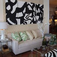 Art/Wall Decor - Mecox Gardens - Four Panel Black & White Abstract Detail - black, white, panel, four, art, canvas, abstract, oil, painting,