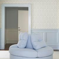 Lynn Morgan Design - closets - imperial trellis, imperial trellis wallpaper, wainscoting, blue wainscoting, powder blue wainscoting, blue moldings, powder blue moldings, glass chandelier, faceted chandelier, powder blue ottoman, round ottoman, blue closet, powder blue closets, blue closets, imperial trellis soft aqua, imperial trellis soft aqua wallpaper, Kelly Wearstler Imperial Trellis Soft Aqua Wallpaper,