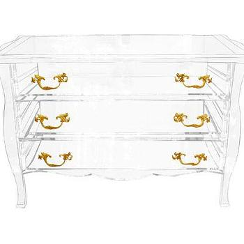 Storage Furniture - Lucite Dresser - John Salibello - Lucite, dresser, bombe, three, drawer, brass, hardware,