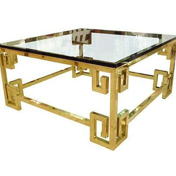 Tables - Greek Key Coffee Table - John Salibello - Greek, key, coffee, table, glass, brass, square, cocktail,
