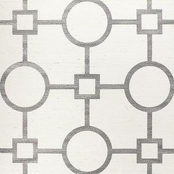 Wallpaper - Union Square Silver - Phillip Jeffries - geometric, wallpaper, silver, white, manila, hemp,