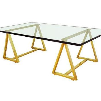 Tables - Saw Bench Coffee Table - John Salibello - glass, top, coffee, table, saw, bench, brass, legs,