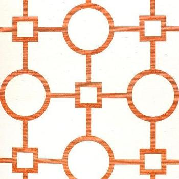 Wallpaper - Union Square Orange - Phillip Jeffries - orange, white, manila, hemp, geometric, wallpaper,