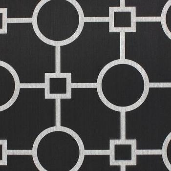 Wallpaper - Union Square Black - Phillip Jeffries - white, black, sateen, geometric, wallpaper,