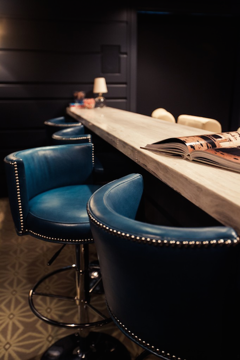 Peacock Blue Leather Barstools Contemporary Media Room