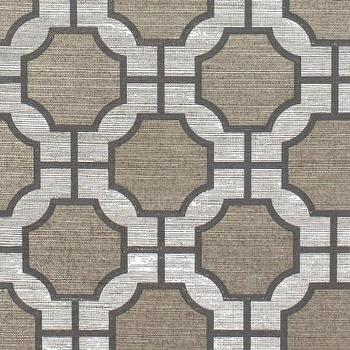 Wallpaper - Imperial Gates Slate - Phillip Jeffries - slate, gray, beige, white, geometric, wallpaper,