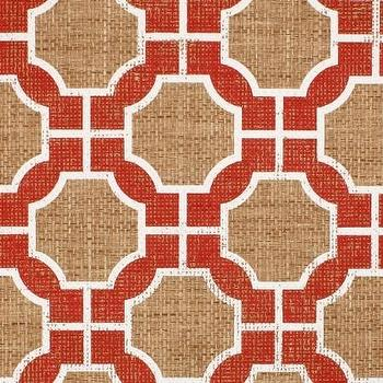 Wallpaper - Imperial Gates Poppy - Phillip Jeffries - poppy, red, white, burlap, wallpaper, geometric,
