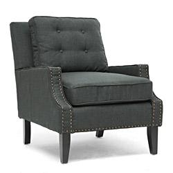 Seating - Baxton Studio Norwich Gray Linen Lounge Chair | Overstock.com - gray, button, tufted, contemporary, lounge, accent, chair, charcoal, linen,