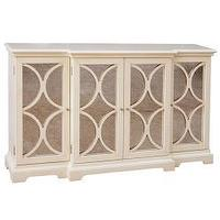 Storage Furniture - Cream Finish Antiqued Mirror Accent Credenza | Overstock.com - cream, antiqued, mirror, credenza, cabinet, console, nickel,