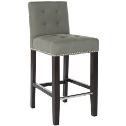 Seating - Noho Grey Linen Nailhead Trim Counter Stool | Overstock.com - gray, counter, stool, linen, nailhead, trim, barstool, tufted,