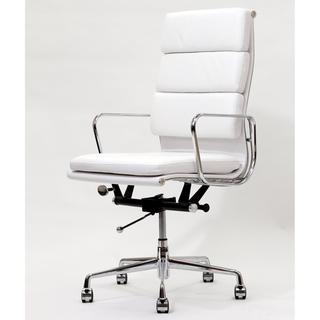 High Back White Leather Executive Office Chair, Overstock.com