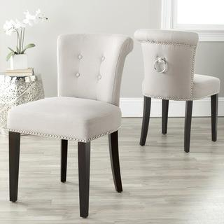 Seating - Carrie Wheat Linen Side Chairs (Set of 2) | Overstock.com - wheat, linen, side, dining, chair, expresso, nickel, nailhead, handle,