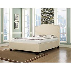 Beds/Headboards - Venice-X Queen-size Wheat Fabric Bed | Overstock.com - nailhead, queen, upholstered, bed, frame, camelback, biege, cream,