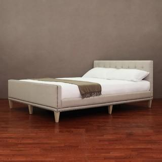 Beds/Headboards - Chloe Queen-size Bed | Overstock.com - modern, queen, bed, upholstered, natural, tufted, nailhead,