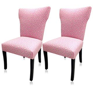 Seating - Sole Designs Pinky Chain Wingback Chairs (Set of 2) | Overstock.com - pink, Greek, key, upholstered, wingback, chair, dining, side,