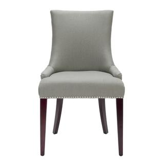 Seating - Becca Grey Linen Dining Chair | Overstock.com - gray, linen, dining, side, chair, nickel, nailhead, trim,
