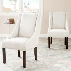 Sloping Arm Beige Nailhead Dining Chairs (Set of 2), Overstock.com