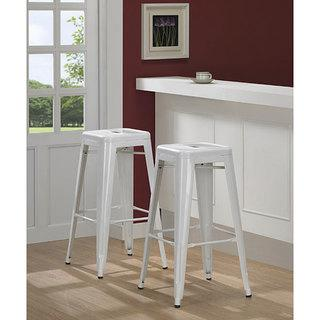 Seating - Tabouret 30-inch White Bar Stools (Set of 2) | Overstock.com - white, steel, metal, bar, stools,