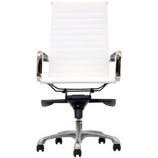 Seating - Malibu High-back White Vinyl Office Chair | Overstock.com - retro, modern, contemporary, white, vinyl, aluminium, desk, chair, office,