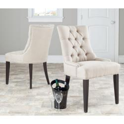 Seating - Marseille Grey Linen Nailhead Dining Chairs (Set of 2) | Overstock.com - gray, linen, upholstered, chair, dining, nickel, nailhead, trim,