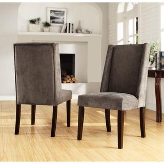 Seating - Ian Grey Wingback Chairs (Set of 2) | Overstock.com - gray, wingback, dining, chairs, chenille, expresso, legs,