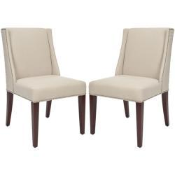Seating - Noho Beige Linen Side Chairs (Set of 2) | Overstock.com - natural, linen, dining, side, chair, beige. espresso, nailhead,