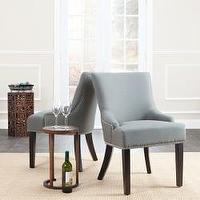 Seating - Loire Grey Linen Nailhead Dining Chairs (Set of 2) | Overstock.com - gray, linen, nailhead, dining, chair, nickel,