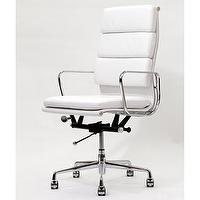 Seating - High Back White Leather Executive Office Chair | Overstock.com - white, leather, high, back, office, desk, chair, chrome,