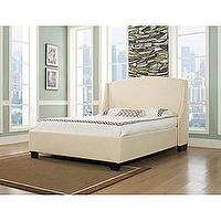 Beds/Headboards - Oxford-X Queen-size Wheat Fabric Bed | Overstock.com - upholstered, queen, bed, wheat, nickel, nailhead, wing, wingback,