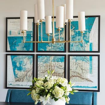 Tobi Fairley - dining rooms - peacock blue, peacock blue chairs, peacock blue dining chairs, swoop arm chairs, velvet chairs, blue velvet chairs, brass chandelier, dining room chandelier, vintage map, turquoise blue map, art gallery, peacock blue dining room, Ziyi Large Chandelier,