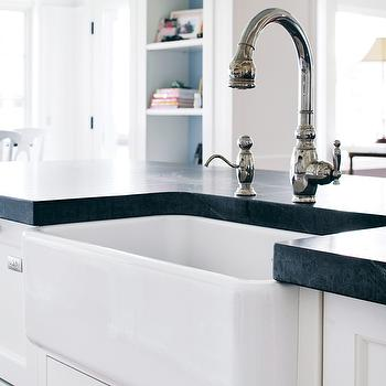 Boston Magazine - kitchens - white kitchen island, white cabinets, honed soapstone, soapstone countertops, honed soapstone countertops, sospastone, Kohler Vinnata Faucet,