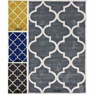Rugs - Handmade Luna Moroccan Trellis Rug (7'6 x 9'6) | Overstock.com - gray, black, navy, yellow, Moroccan, trellis, rug,