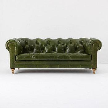 Seating - Atelier Chesterfield, Bottle Green - Anthropologie.com - leather, tufted, chesterfield, couch, sofa, bottle, green,