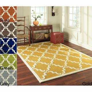 Rugs - Handmade Luna Marrakesh Trellis Wool Rug (5' x 8') | Overstock.com - handmade, woven, wool, rug, yellow, blue, brown, rust, navy, trellis, lattice,