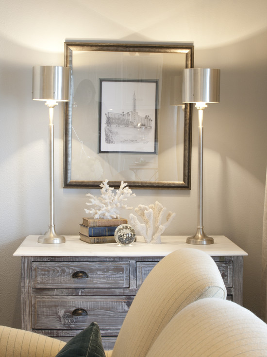 SallyL: Alice Lane Home - Pretty vignette next to armchairs. Weathered wood dresser with white ...